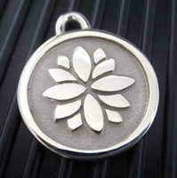 Silver Paw Large Stainless Steel Lotus ID Tag
