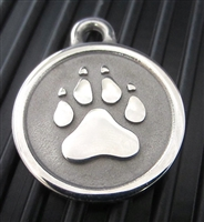 Silver Paw Large Stainless Steel Paw ID Tag