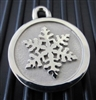 Silver Paw Large Stainless Steel Snowflake ID Tag