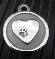 Silver Paw Medium Stainless Steel Heart ID Tag