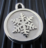 Silver Paw Medium Stainless Steel Snowflake ID Tag