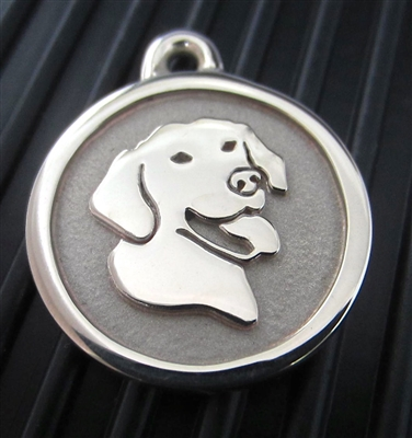 Silver Paw Medium Stainless Steel Smiling Lab ID Tag