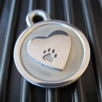 Silver Paw Small Stainless Steel Heart ID Tag