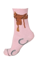Wheel House Design Pink Saddle Socks (Size 9-11)