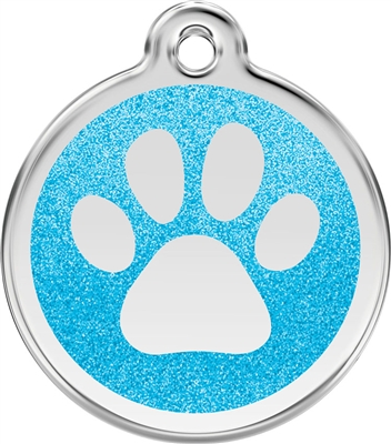 Red Dingo Medium Glitter Paw Print Tag