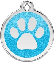Red Dingo Small Glitter Paw Print Tag