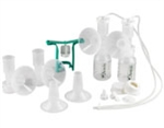 Ameda Dual HygieniKit Milk Collection System with CustomFit Flange System and One-Hand Manual Breast Pump Adapter