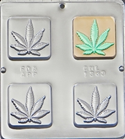 1343 Marijuana Leaf Pot Square Bar Chocolate Candy Mold