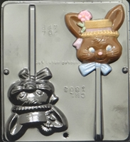 1804 Girl Bunny Lollipop Chocolate Candy Mold
