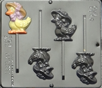 1816 Duck with Bonnet Pop Lollipop Chocolate Candy Mold