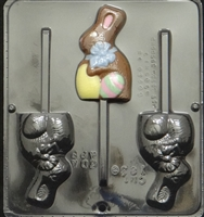 1836 Bunny with Bow Lollipop Chocolate Candy Mold