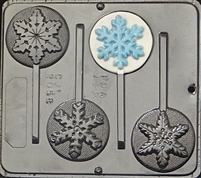 "2058 Snowflake Variety ""Frozen"" Lollipop Chocolate Candy Mold"