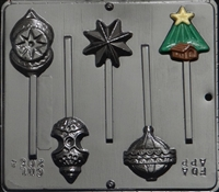 2084 Christmas Tree Assorted Ornaments Lollipop Chocolate Candy Mold