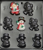 2116 Santa & Snowman Pieces Chocolate Candy Mold