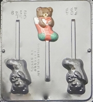 2149 Teddy Bear in Stocking Lollipop Chocolate Candy Mold