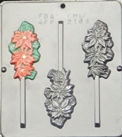 2163 Poinsettia Lollipop  Chocolate Candy Mold