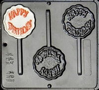 263 Happy Birthday Lollipop Chocolate Candy Mold
