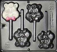 284 Fuzzy Bear Pop Lollipop Chocolate Candy Mold