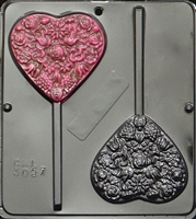 3057 Large Heart Pop Lollipop Chocolate Candy Mold
