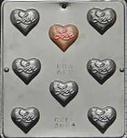 "3064 ""Love"" on Heart Chocolate Candy Mold"