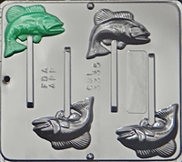3335 Bass Fish Pop Lollipop Chocolate Candy Mold