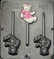 3379 Girl Teddy Bear Lollipop Chocolate Candy Mold