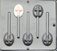 405 Cross on Oval Lollipop Chocolate Candy Mold