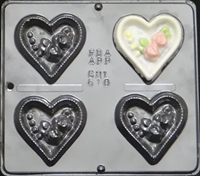 610  Heart with Roses Chocolate Candy Mold