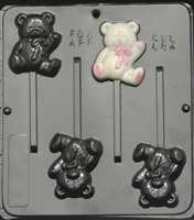 684 Teddy Bear Lollipop Chocolate Candy Mold