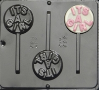 "692 ""It's a Girl"" Lollipop Chocolate Candy Mold"