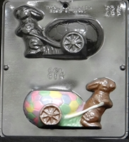 814 Bunny Pulling Egg Cart Assembly Chocolate Candy Mold