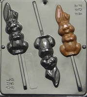 859 Funny Bunny Lollipop Chocolate Candy Mold