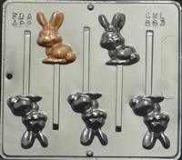 863 Bunny Lollipop Chocolate Candy Mold
