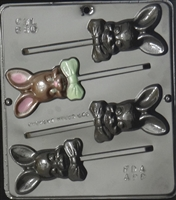 880  Bunny with Bow Lollipop Chocolate Candy Mold