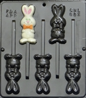 882 Whole Rabbit Lollipop Chocolate Candy Mold
