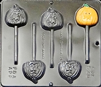 930 Pumpkin Jack O' Lantern Lollipop Chocolate Candy Mold