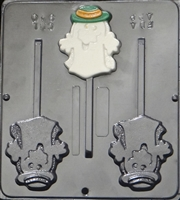 940 Cool Ghost w/Hat Lollipop Chocolate Candy Mold
