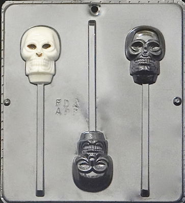 960 Skull Lollipop Chocolate Candy Mold