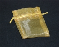 "BA-50-15 Gold Organza Sheer Pouch. Drawstring close 3"" x 4""  12 ct."