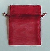"BA-50-19 Red Organza Sheer Pouch. Drawstring close 3"" x 4"" 12 ct."