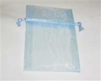 "BA-50-31 Light Blue Organza Sheer Pouch. Drawstring close 3"" x 4"" 12 ct."