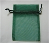 "BA-50-59 Hunter Green Organza Sheer Pouch. Drawstring close 3"" x 4"" 12 ct."