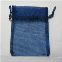"BA-50-62 Navy Blue Organza Sheer Pouch. Drawstring close 3"" x 4"" 12 ct."