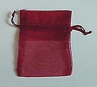 "BA-50-94 Burgundy Organza Sheer Pouch. Drawstring close 3"" x 4""  12 ct."