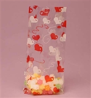 BAP-04 Red/White Hearts printed cello bag. 100 ct.