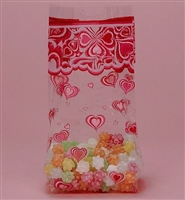BAP-05 Groovy Hearts printed cello bag. 100 ct.