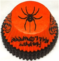 "BC-06 ""Happy Halloween"" printed Orange/Black Standard Baking Cup 500 ct."