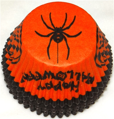 "BC-06-100 ""Happy Halloween"" printed Orange/Black Standard Baking Cup 100 ct."