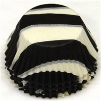 BC-11-100 Black Zebra Stripe on White Standard Baking Cup 100 ct.