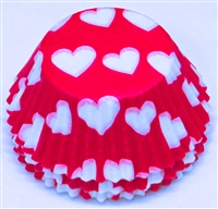 BC-12-100 White Hearts on Hot Pink Standard Baking Cup 100 ct.